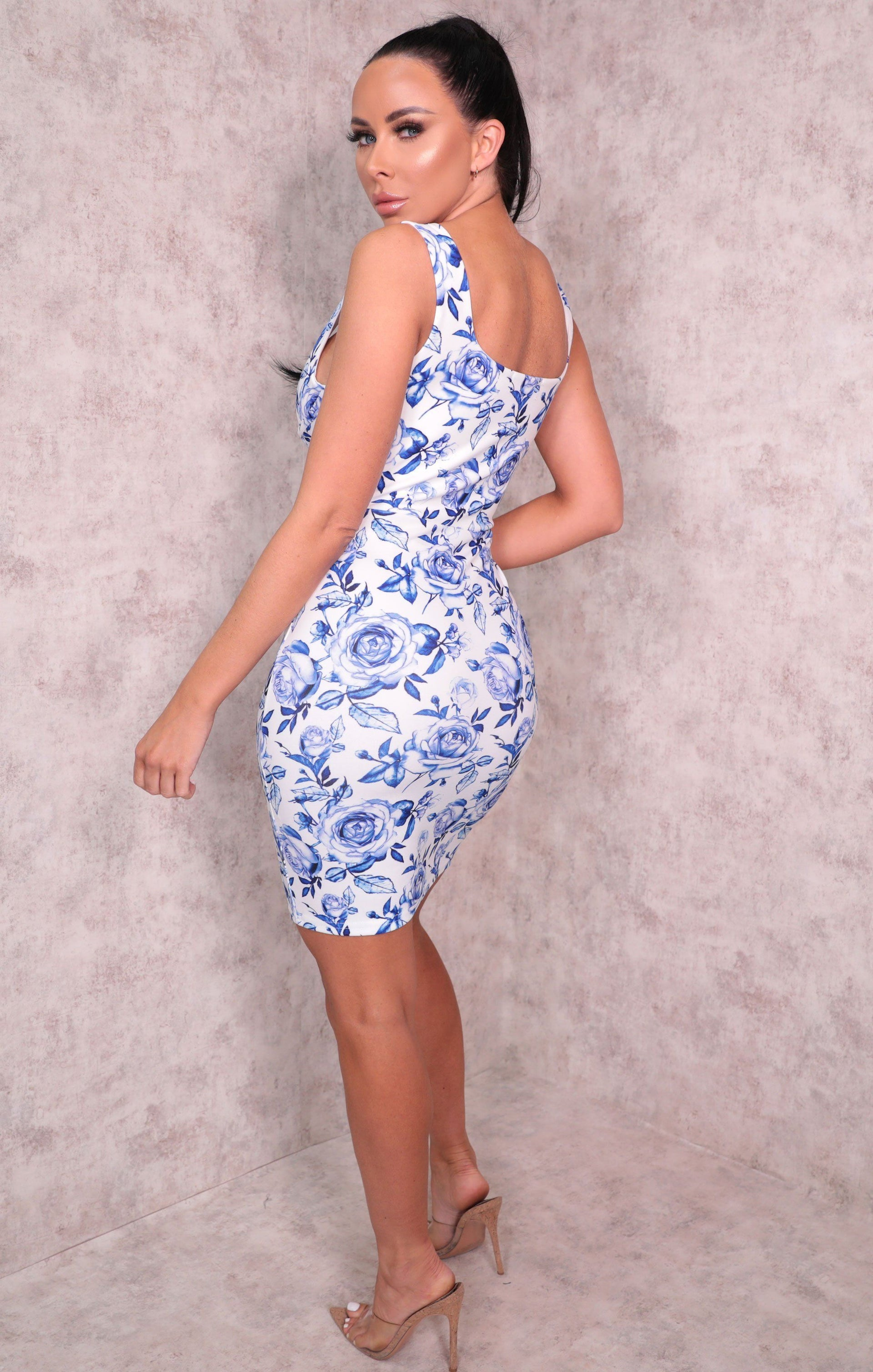 White Hook Eye Blue Rose Square Neck Bodycon Mini Dress - Dylan