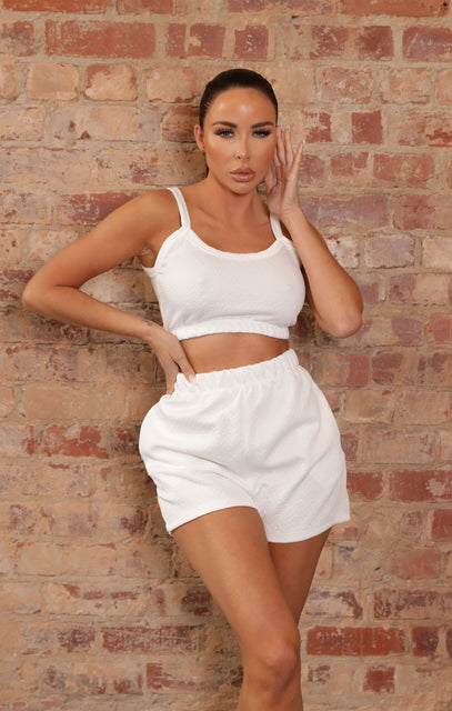 White Jacquard Crop Top & Shorts Co-ord - Kenza