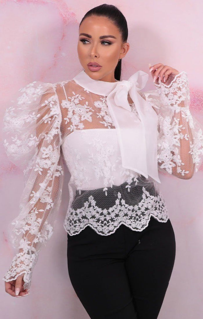 White Lace Puff Sleeves High Neck Top - Berry