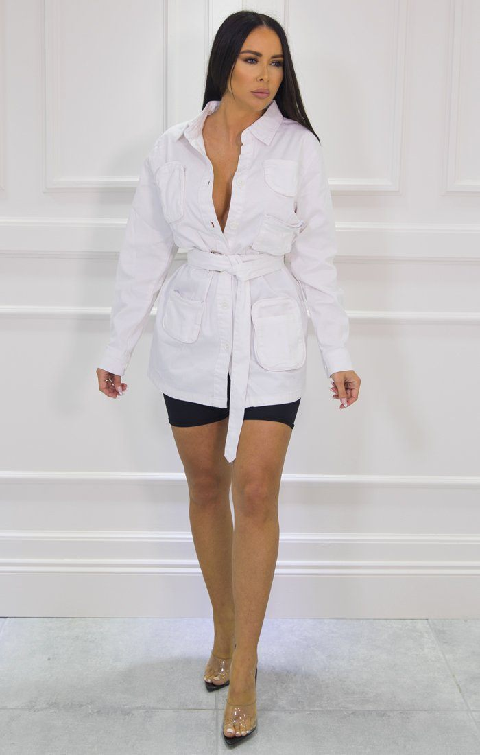 White Long Sleeve Belted Utility Cargo Jacket - Abril