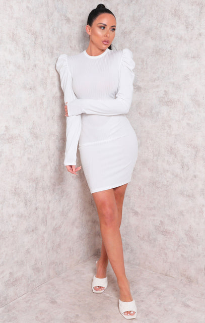 White Long Sleeve Ribbed Bodycon Mini Dress - Peggy