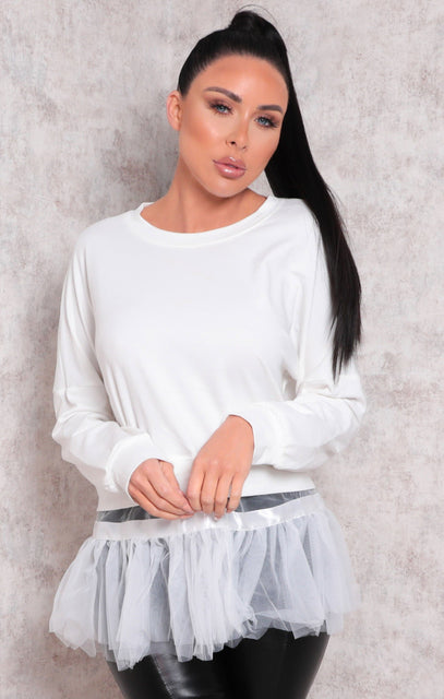 White Long Sleeve Sweatshirt Tulle Top - Eros