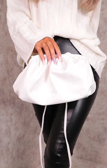 White Matte PU Ruched Puff Side Mini Bag - Darla