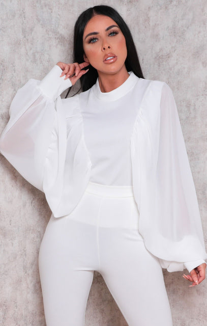 White Mesh Balloon Sleeve High Neck Top - Farrah