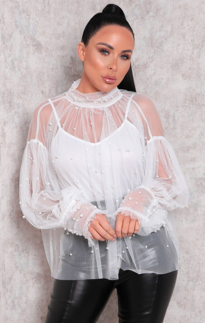 White Mesh Fishnet Pearl Detail Long Sleeve Frill Blouse - Kenna