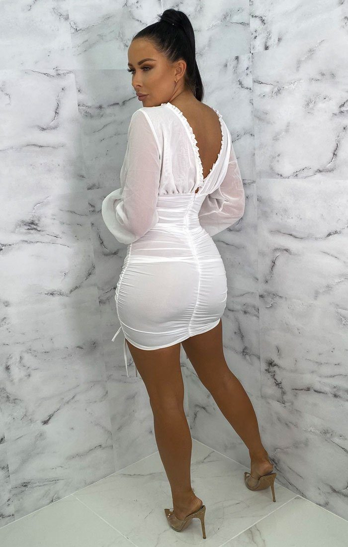 White Mesh Frill Ruched Bodycon Mini Dress - Kirsty