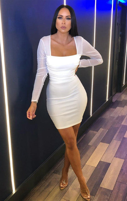 White Mesh Overlay Long Sleeve Dress - Mensa
