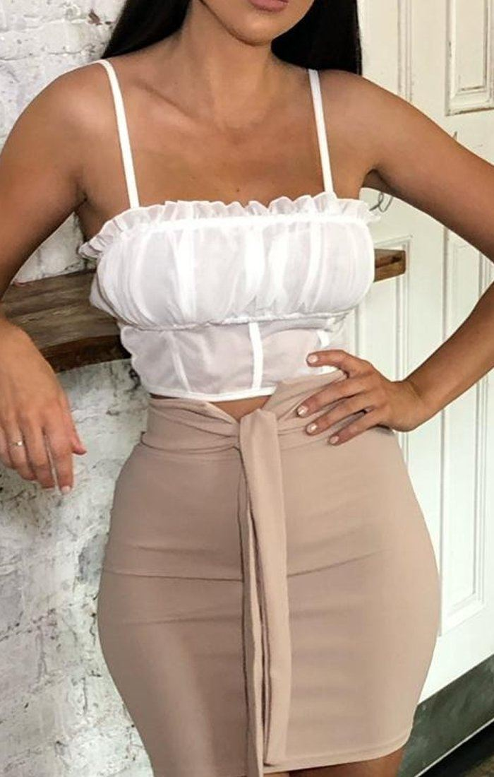 White Mesh Overlay Ruched Crop Top - Adia