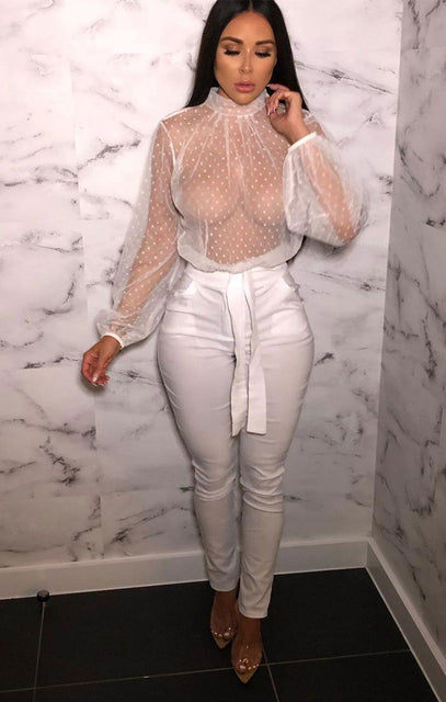 White Mesh Polka Dot Top - Sandee
