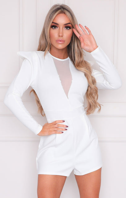 White Mesh Shoulder Pads Playsuit - Farrah