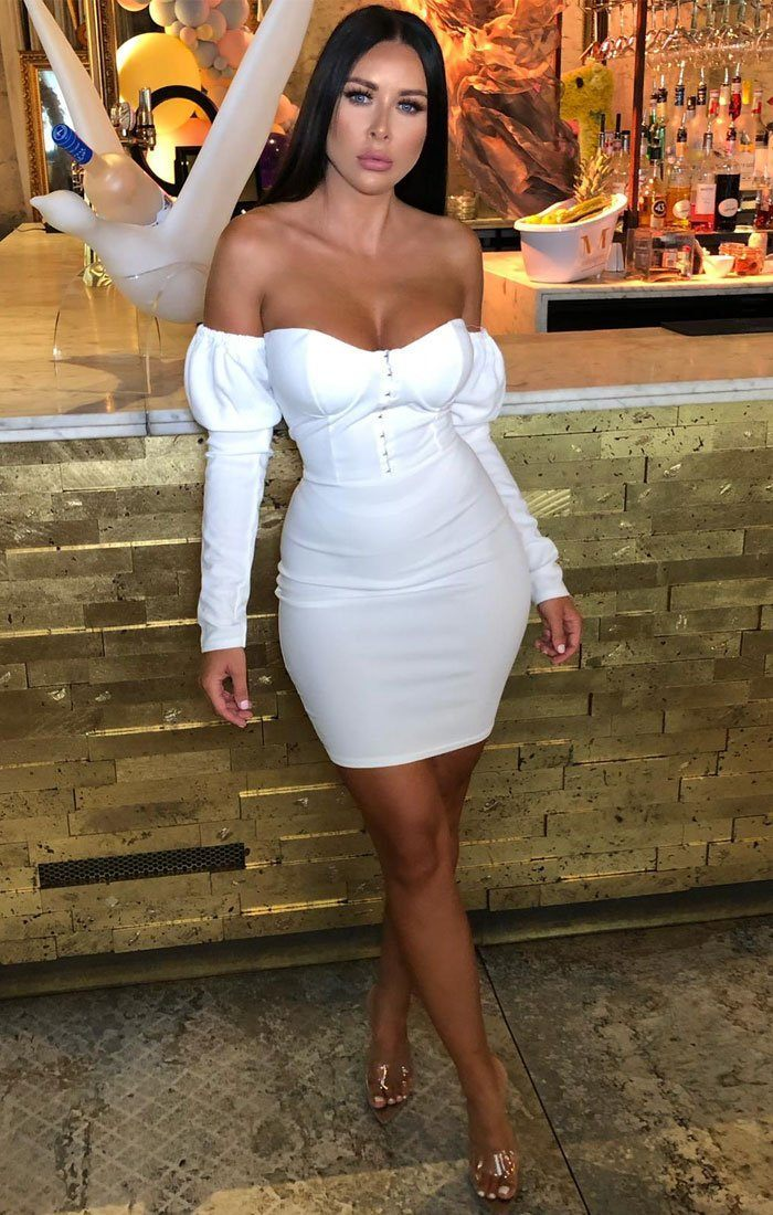White Milkmaid Bodycon Mini Dress - Elettra