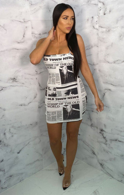 White Newspaper Print Slinky Strappy Bodycon Mini Dress - Trish
