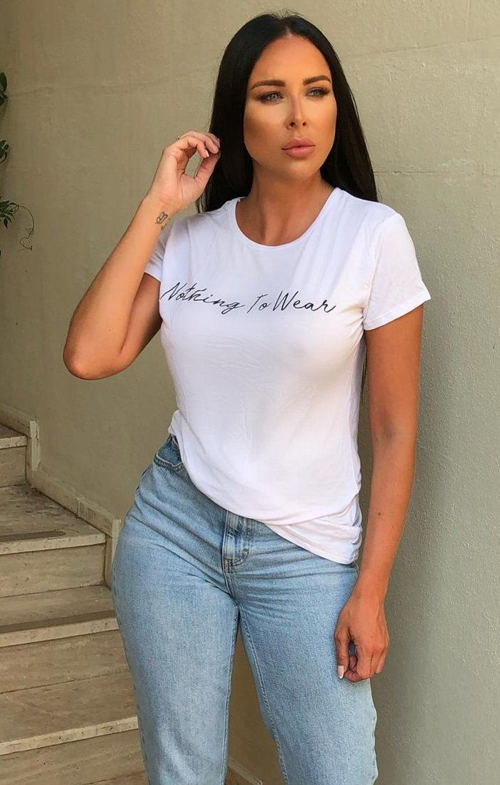 White 'Nothing to Wear' Slogan Cropped Top - Andi
