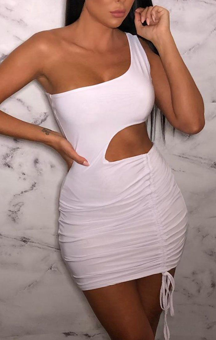 White One Shoulder Cut Out Mini Dress - Jolie