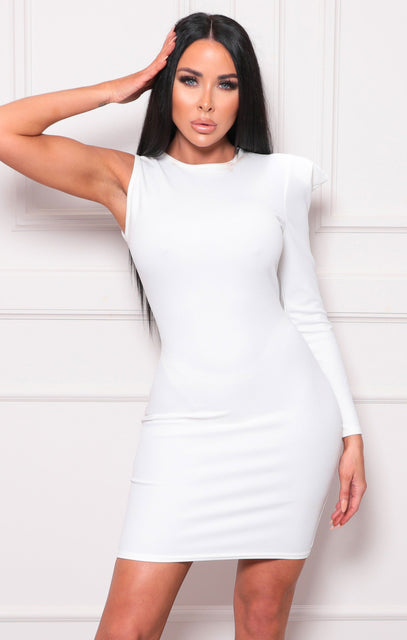 White One Shoulder Padded Bodycon Mini Dress - Unice
