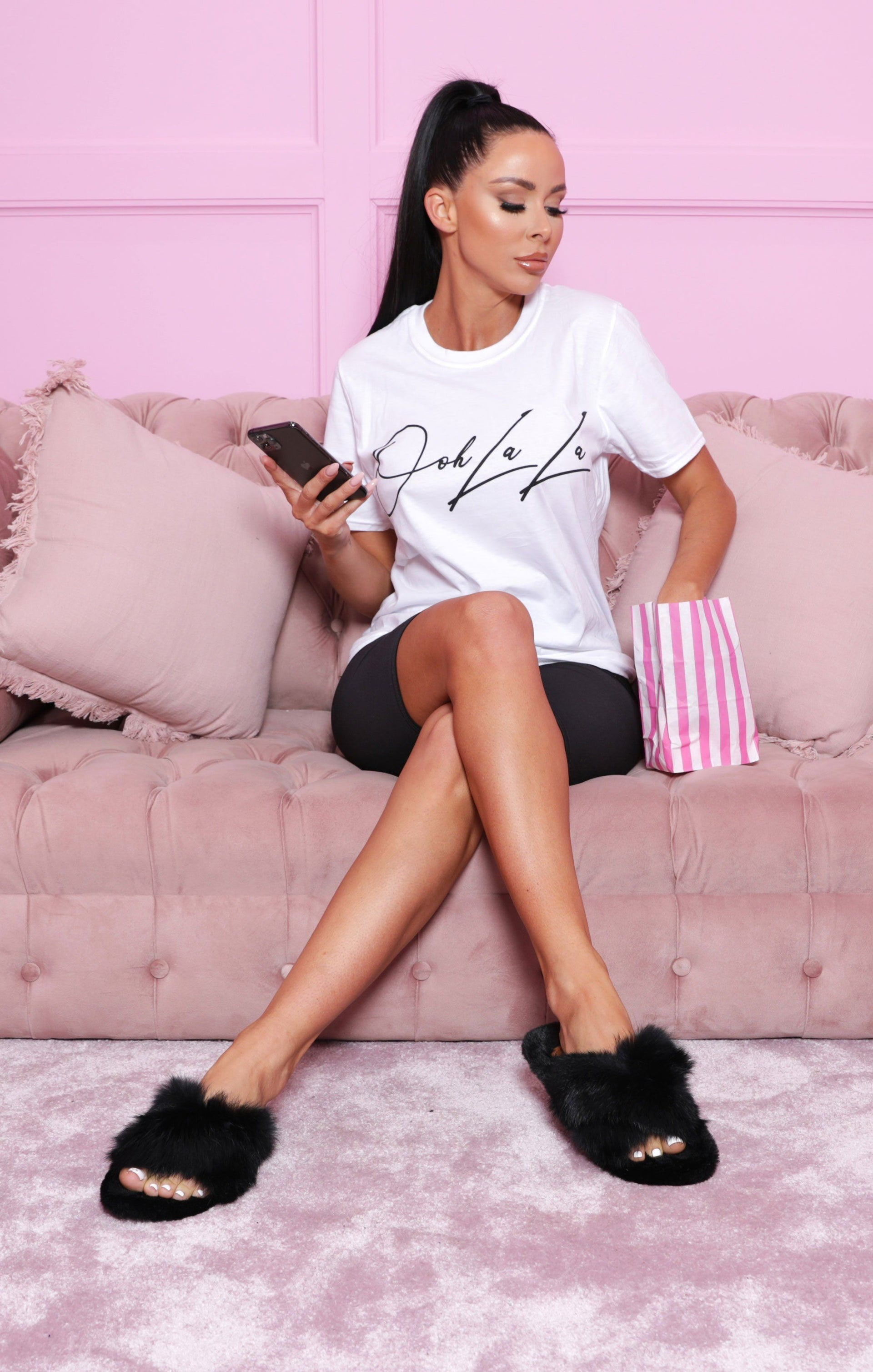 White 'Ooh La La' Oversized T-Shirt - Addison