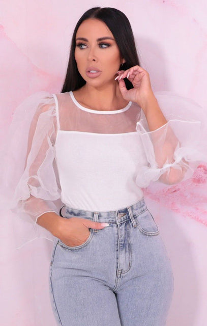 White Organza Puff Sleeve Ribbed Top - Callahan