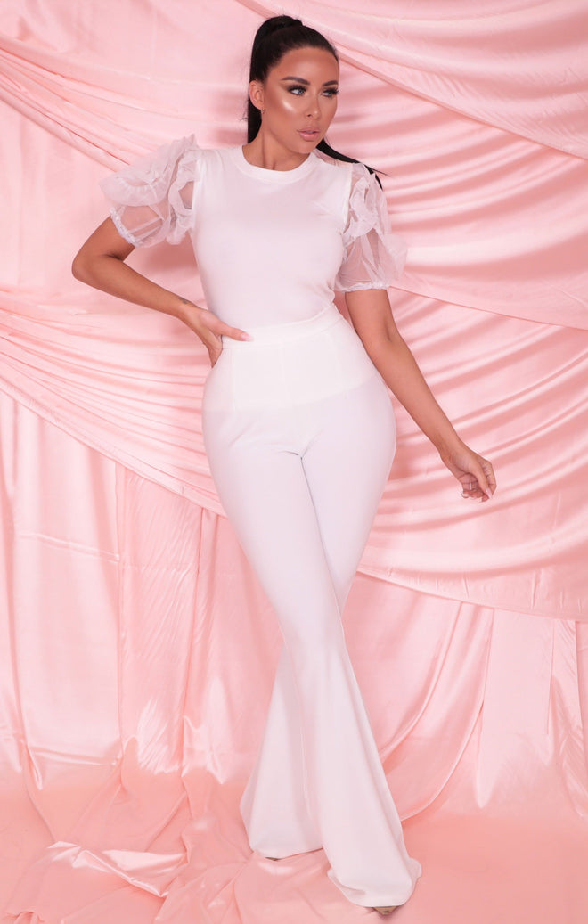 White Organza Rose Sleeve Fitted Top - Jamie