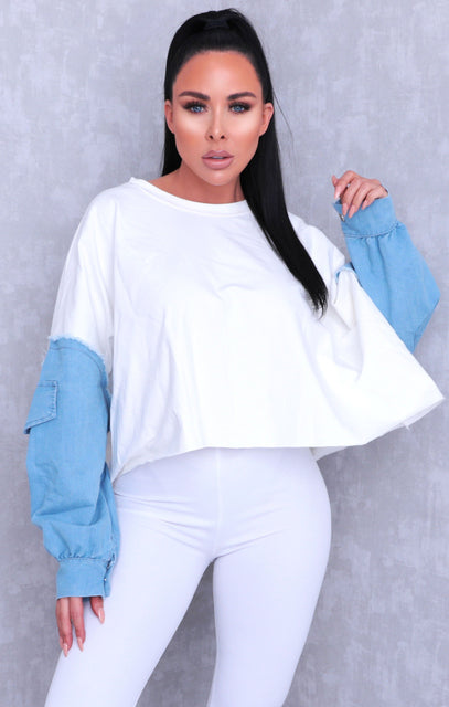 White Oversized Distressed Denim Sleeve Sweatshirt - Diana