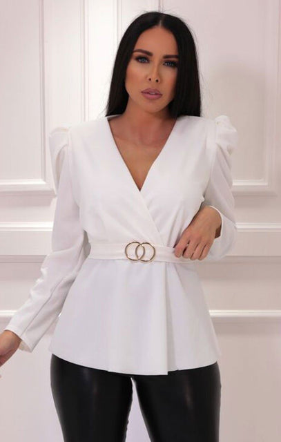 White Padded Shoulder Belted Blazer Top - Brinley