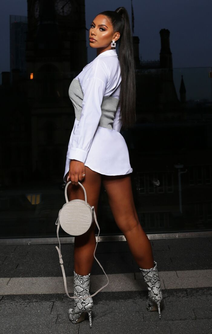 White Pleated Long Sleeve Shirt Mini Dress - Kelby