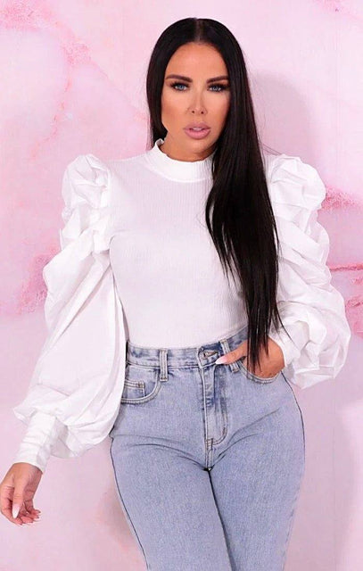 White Pleated Long Sleeve Top - Lorraine