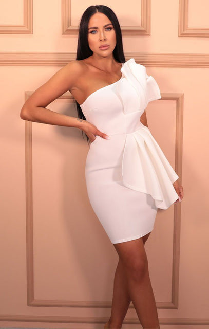 White Pleated One Shoulder Bodycon Mini Dress - Arlo