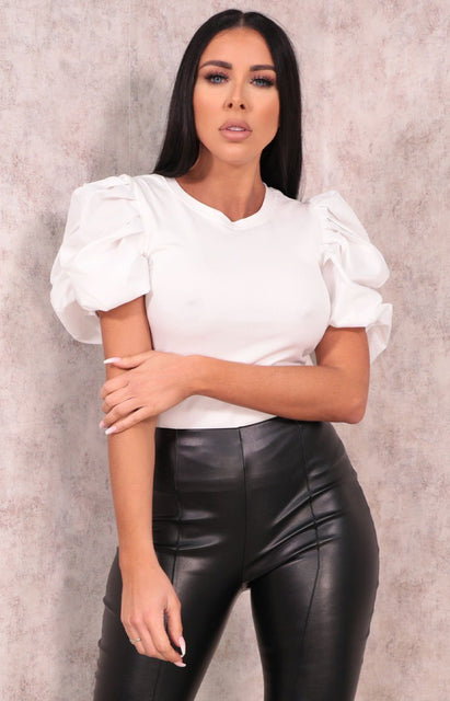 White Pleated Puff Sleeve Top - Vanessa