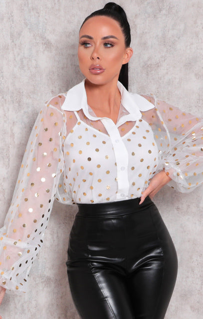 White Polka Dot Balloon Sleeve Fishnet Top - Brady