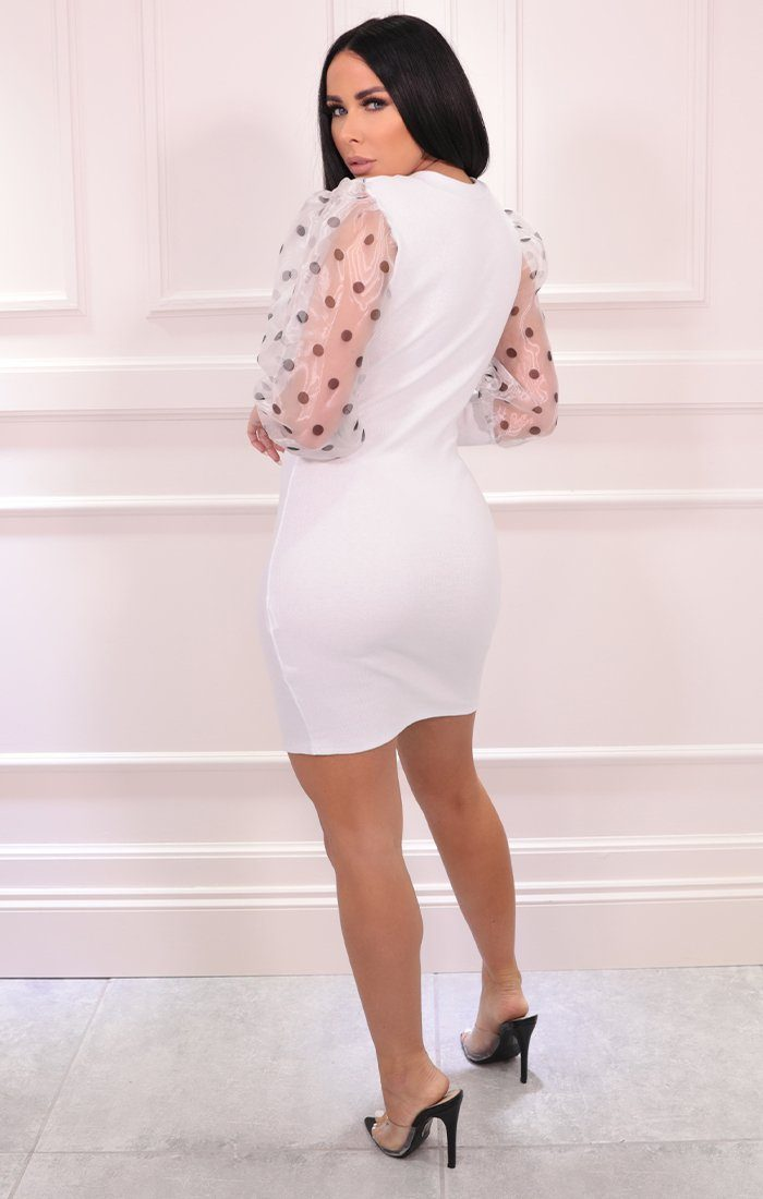 White Polka Dot Mesh Sleeve Ribbed Mini Dress - Dax
