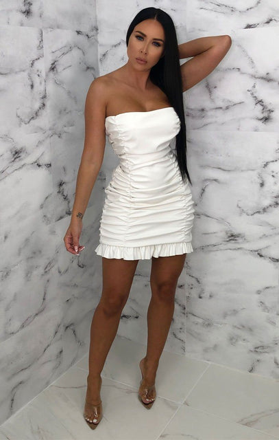White PU Ruffle Strapless Bodycon Mini Dress - Brody