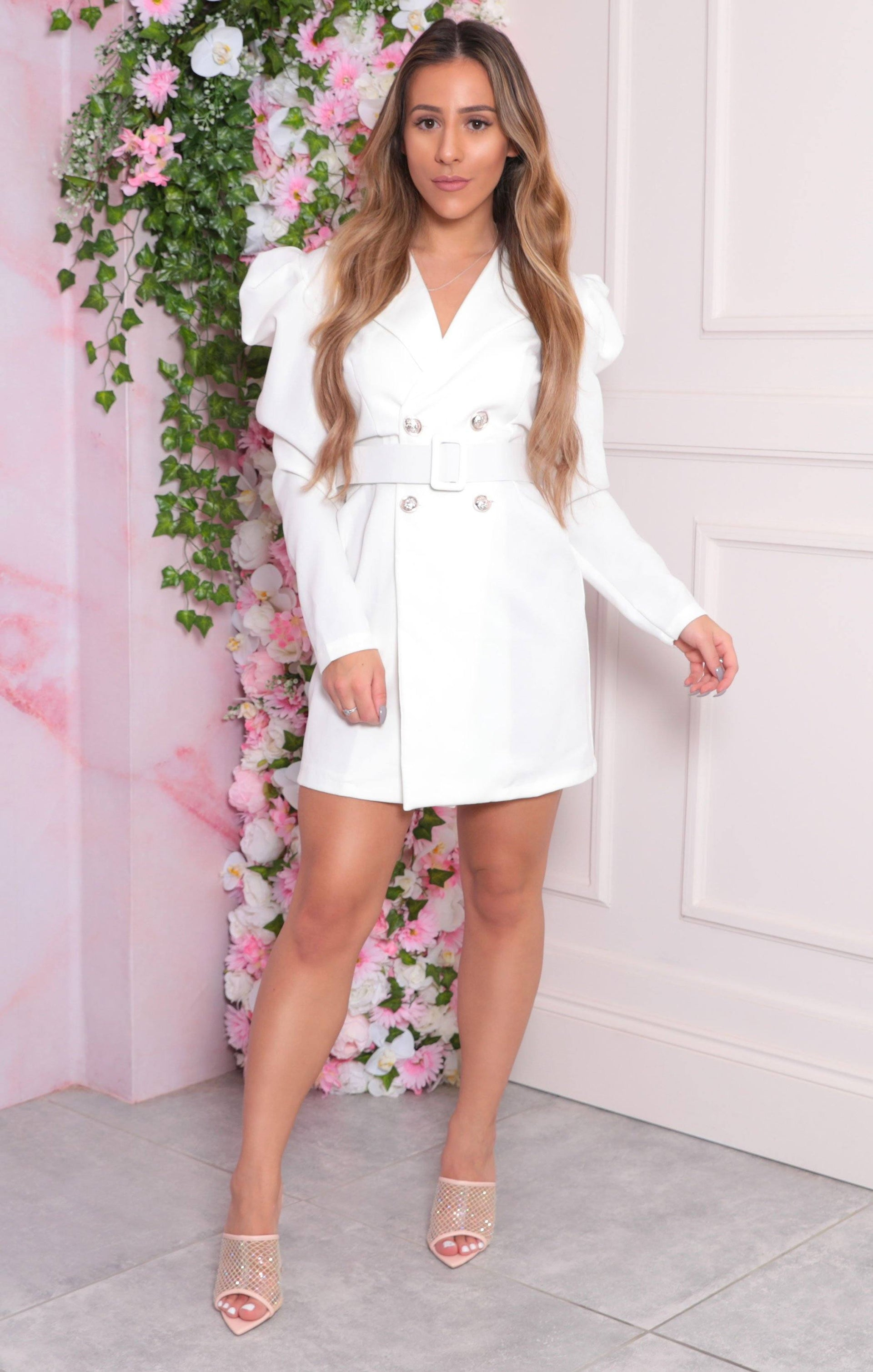 White Puff Shoulder Double Breasted Blazer Dress - Arlo