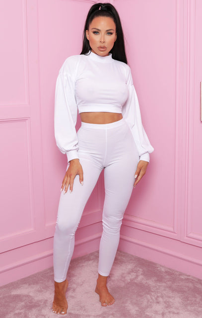 White Ribbed Crop Top Straight Leg Loungewear Set - Aniston