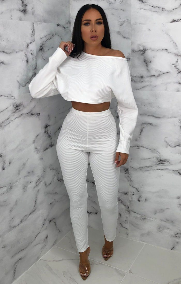 White Ribbed Cropped Loungewear Set - Oscar