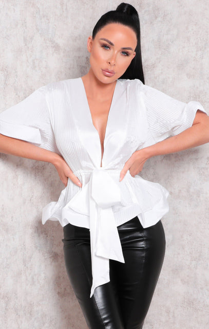 White Ribbed Flare Sleeve Plunge Tie Top - Kade