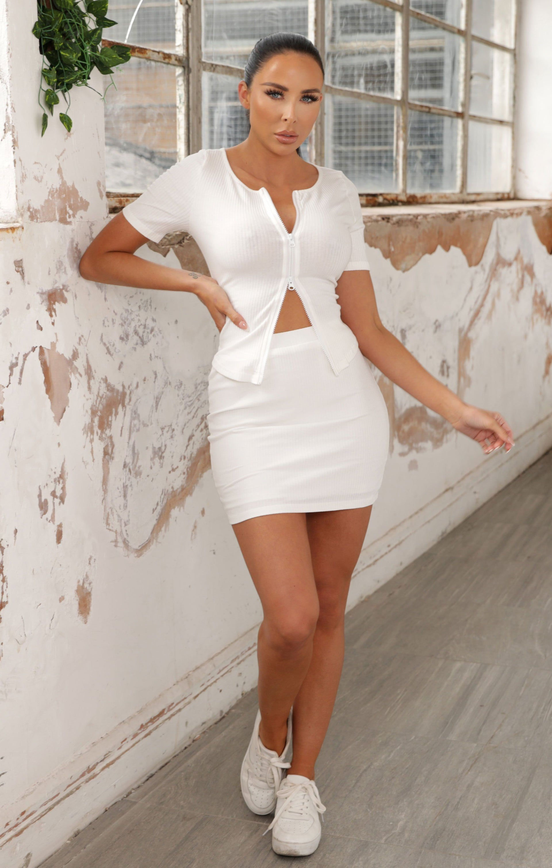 White Ribbed Zip Up Co-ord - Louise