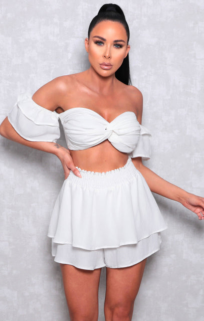 White Ruched Bralette Shorts Co-ord - Madison