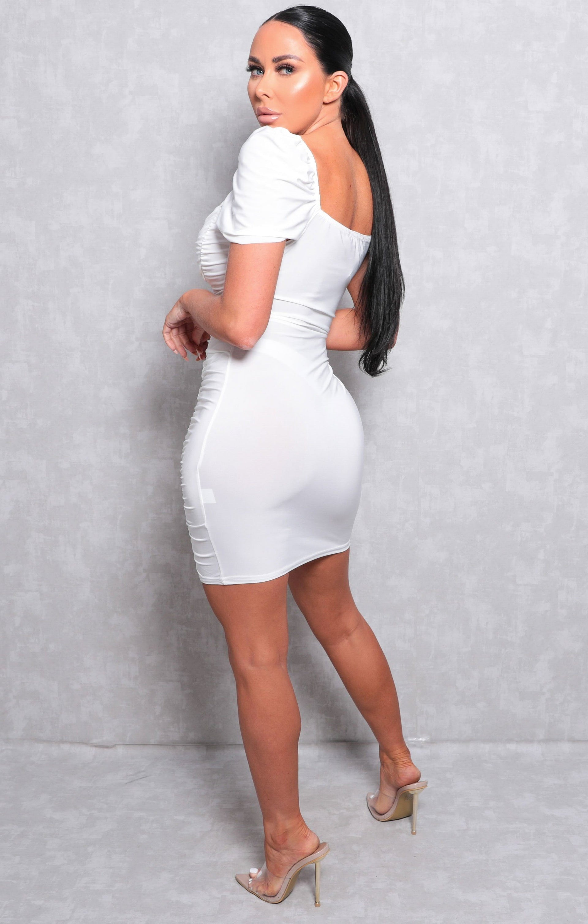White Ruched Front Slinky Bodycon Mini Dress - Axel
