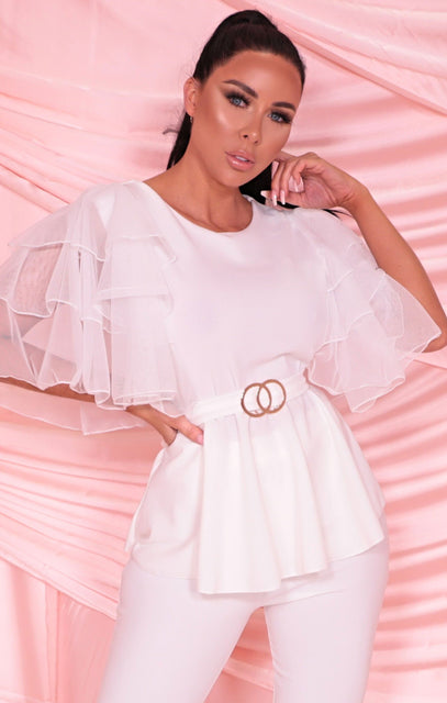 White Ruffle Frill Mesh Sleeve Double Circle Belt Top - Olwen