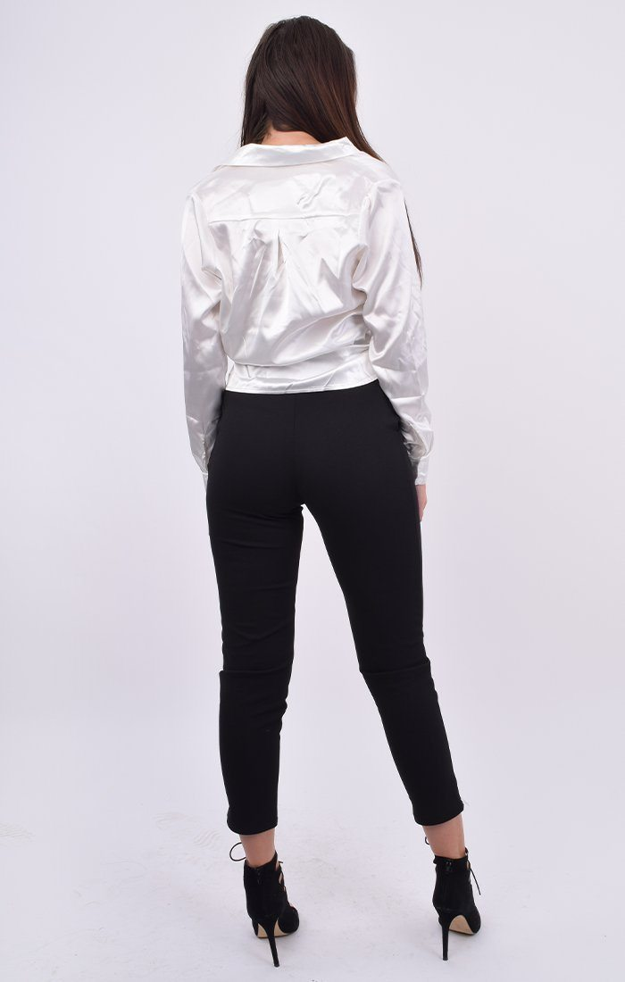 White Satin Button Up Tie Front Shirt - Jaymee