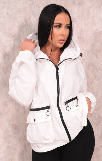 White Shell Suit Hooded Jacket - Eloise