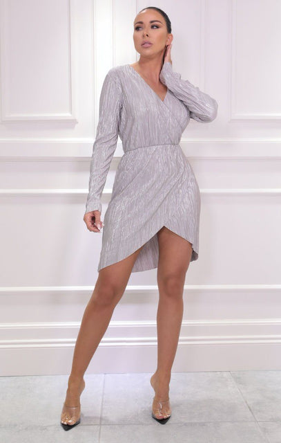 White Silver Wrap Front Metallic Mini Dress - Apollo