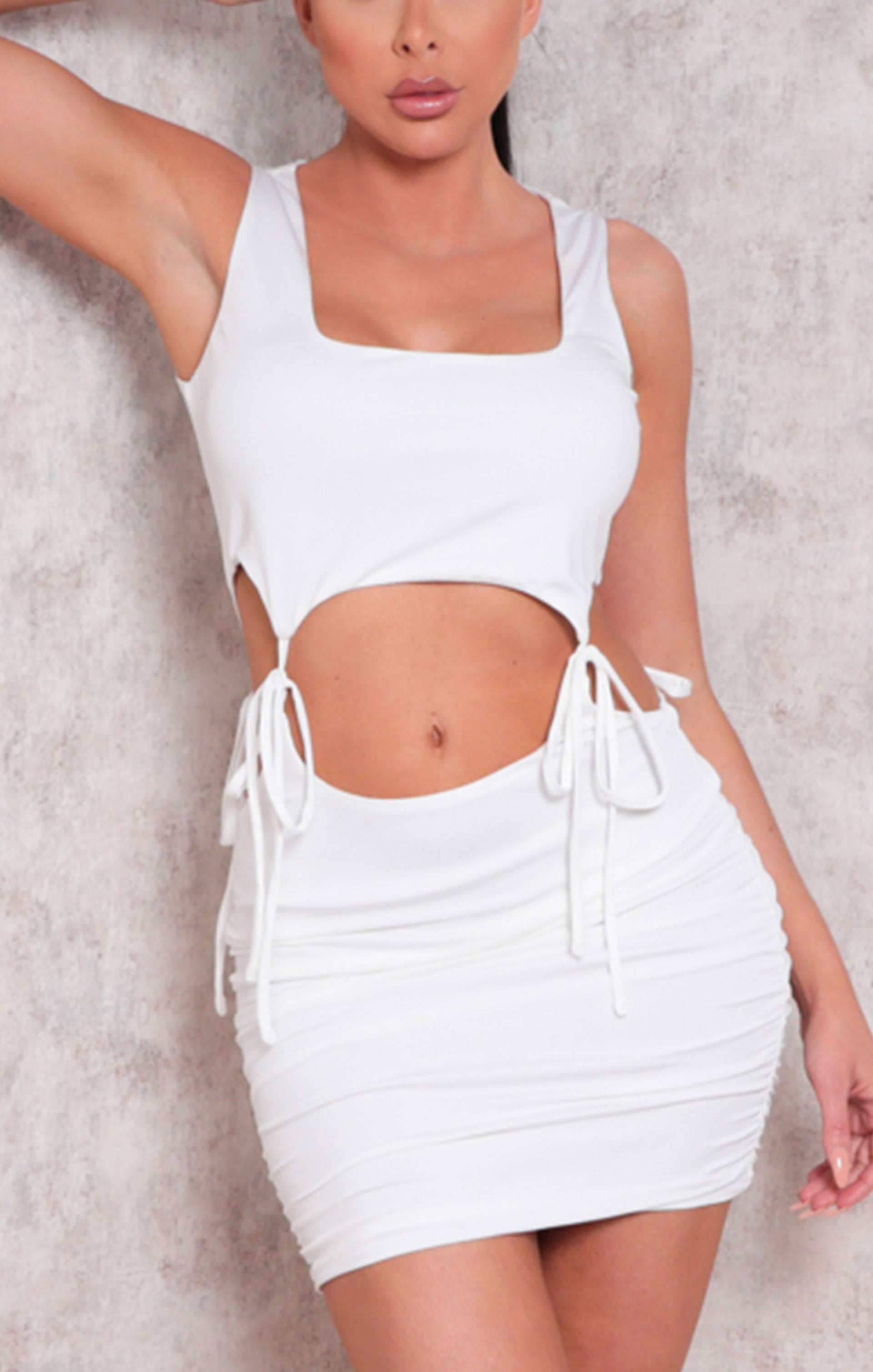 White Sleeveless Cut Out Ruched Bodycon Mini Dress - Dara