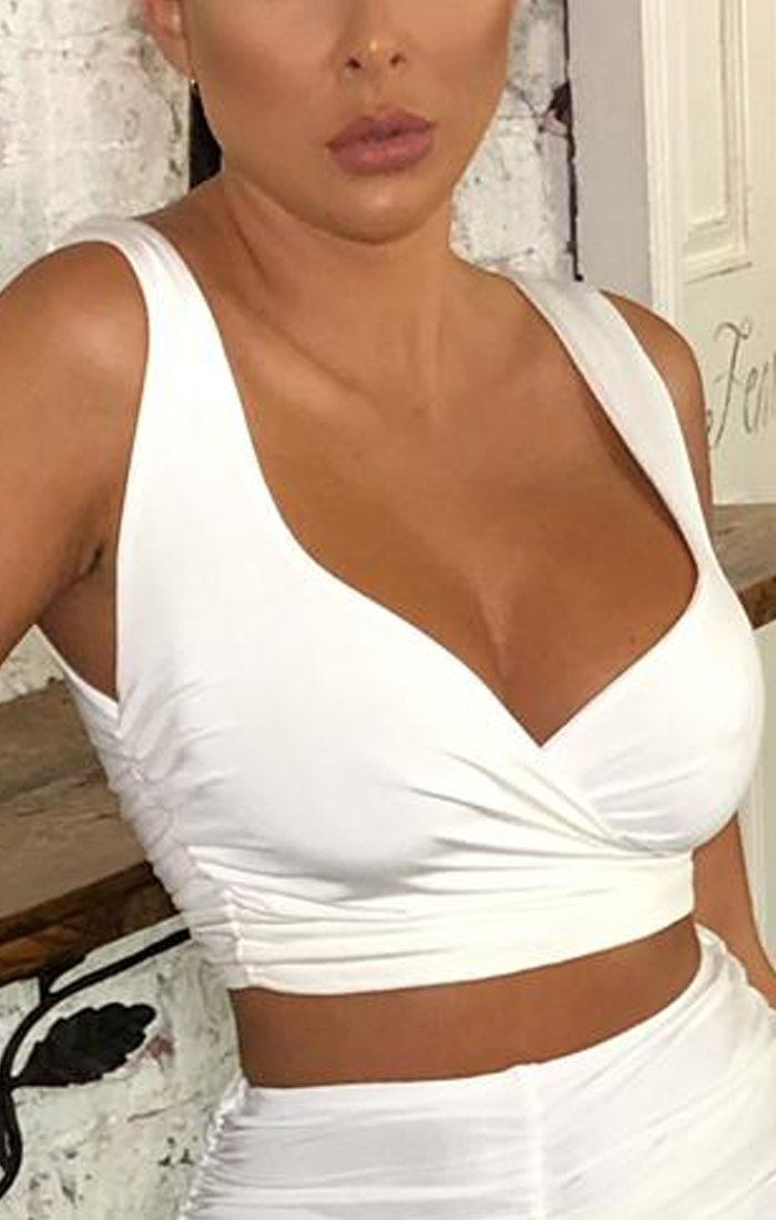 White Slinky Front Wrap Crop Top - Cecilia