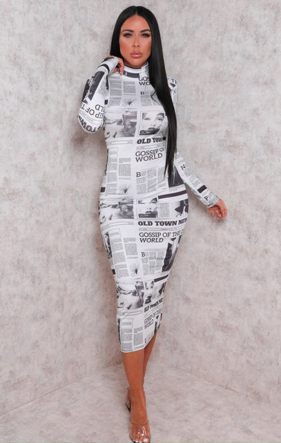 White Slinky Newspaper Print High Neck Midi Dress - Patrica