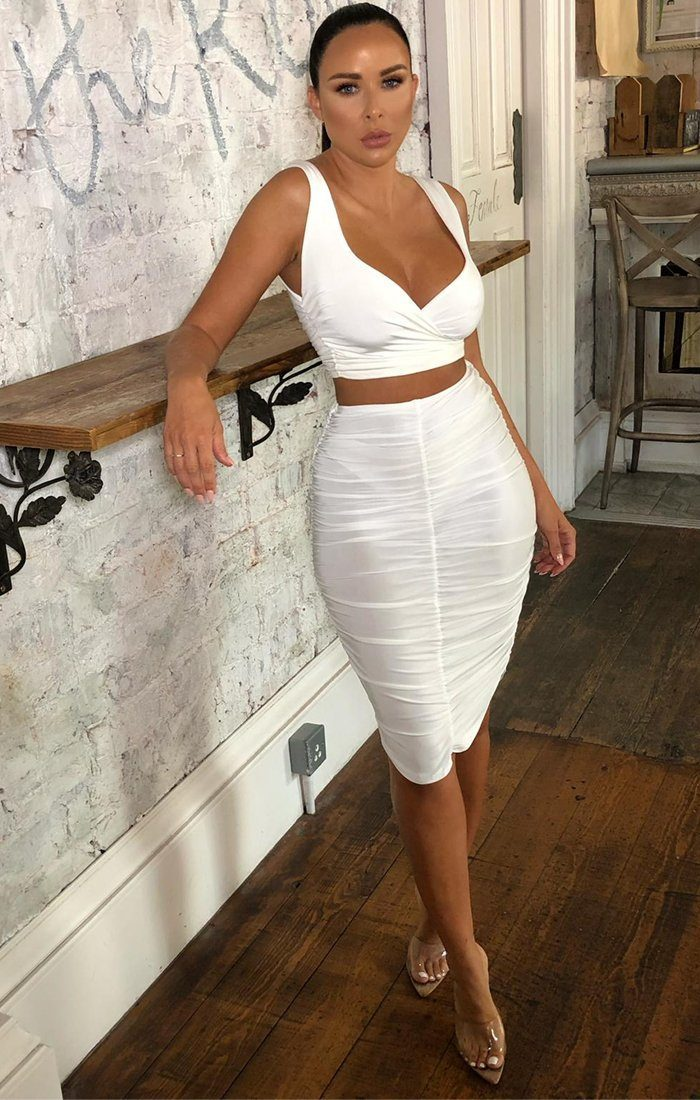 White Slinky Ruched Midi Skirt - Lilly