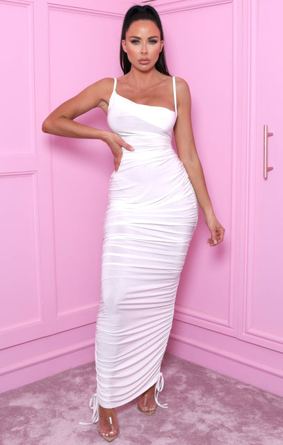 White Slinky Ruched Side Bodycon Midi Dress - Chloe