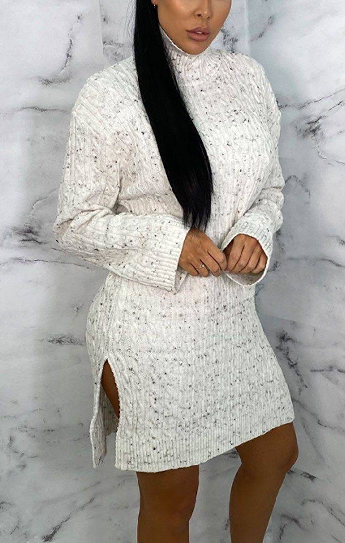 White Speckled Knitted Bodycon Jumper Mini Dress - Tonii