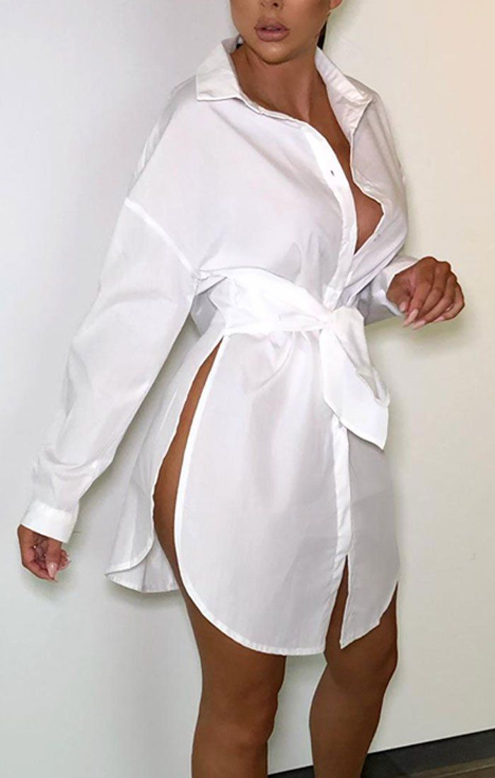 White Thigh Split Shirt Dress - Jayden