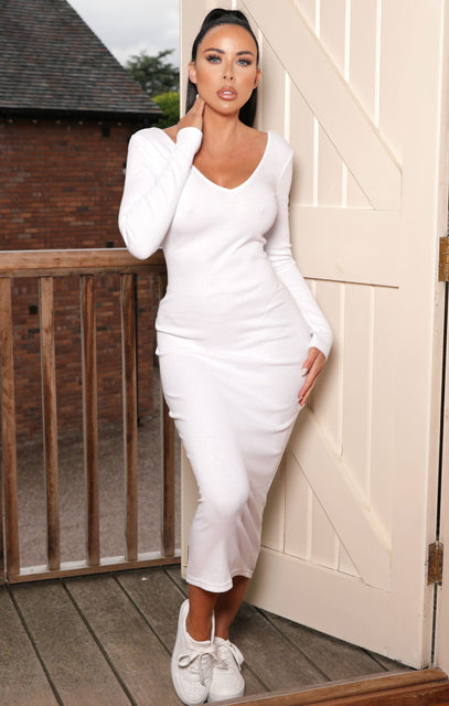 White V Neck Long Sleeve Bodycon Midaxi Dress - Azalea